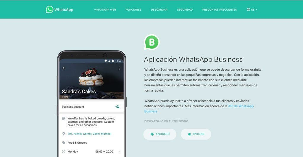 Página oficial de WhatsApp Business, tu nueva red social de venta para tu negocio.
